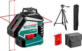 Нивелир лазерный Kraftool, 20-70 м, 360 градусов,, сверхъяркий, IP54, точн. 0,2 мм/м, штатив (34645-3)