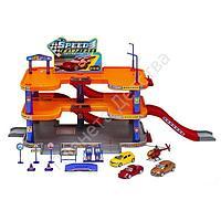 Игровой набор Welly Гараж c 3 машинами и вертолетом