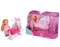 Кукла Еви с малышом и кроваткой (2 вида)