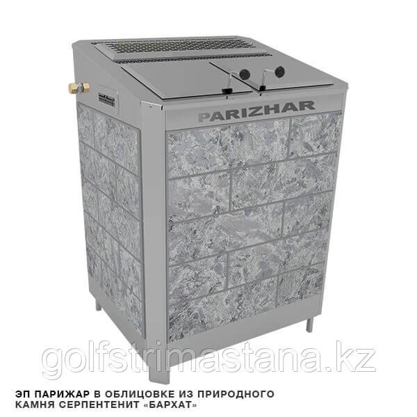 """Печь-каменка, (до 31 м3), с парогенератором «ПАРиЖАР», 24 кВт, облицовка - серпентенит """"Бархат"""""""