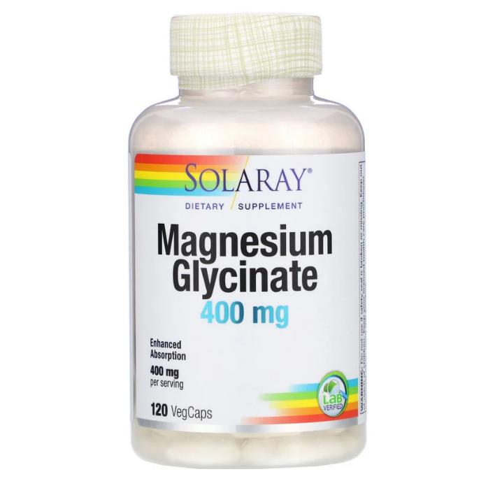 Solaray, глицинат магния, 100 мг, 120 вегетарианских капсул
