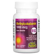 Natural Factors, витамин B12, метилкобаламин, 1000 мкг, 90 жевательных таблеток, фото 4