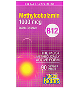 Natural Factors, витамин B12, метилкобаламин, 1000 мкг, 90 жевательных таблеток, фото 2