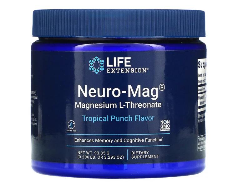 Life Extension, Neuro-Mag, магний L-треонат, вкус тропического пунша, 93,35 г (3,293 унции)