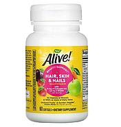 Nature's Way, Alive! мультивитамины для волос, кожи и ногтей, со вкусом клубники, 60 капсул, фото 3