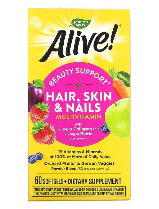 Nature's Way, Alive! мультивитамины для волос, кожи и ногтей, со вкусом клубники, 60 капсул