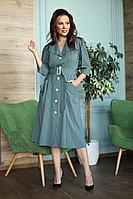 Женское осеннее зеленое большого размера платье Anastasia 669 хвойно-зеленый 48р.