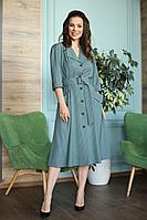 Женское осеннее зеленое большого размера платье Anastasia 669.1 хвойно-зеленый 48р.