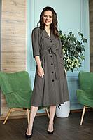 Женское осеннее коричневое большого размера платье Anastasia 669 темный_орех 48р.