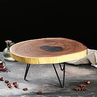 Столик из спила на ножках, 40 х 35 см, массив оливы