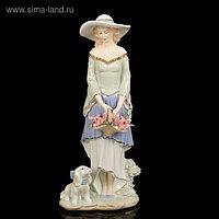 """Сувенир керамика """"Скромная девушка в шляпке с корзиной цветов"""" 36,5х15х10 см"""