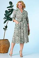 Женское летнее из вискозы зеленое большого размера платье Anastasia 618 олива 48р.
