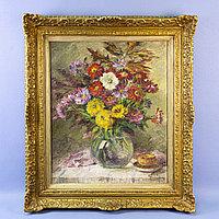 Натюрморт с садовыми цветами» Gabrielle Bisschops(1887-?) Бельгия. Внут 61*51,5. Аукционные дома: Vanderk
