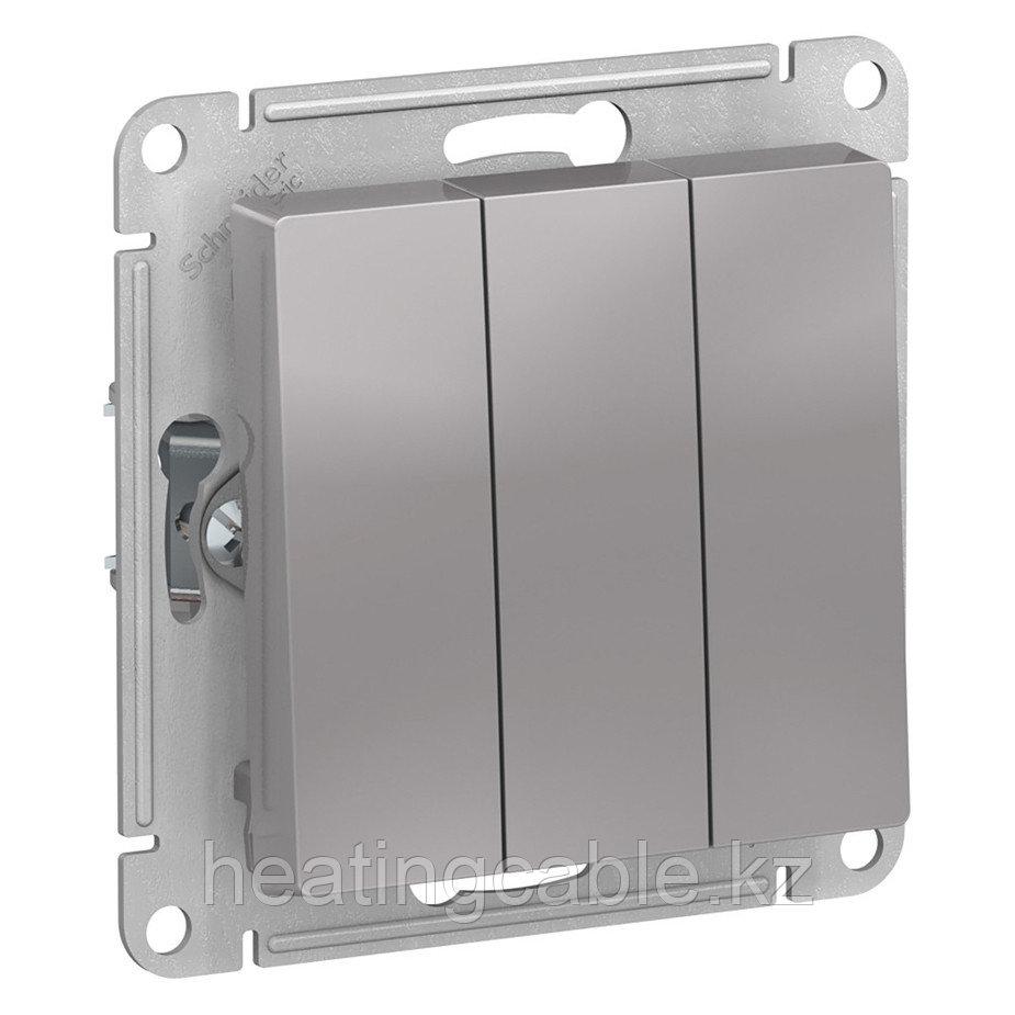 Atlas Design выключатель 3-клавишный,сх.1+1+1 , МЕХАНИЗМ, скрытая установка алюминий