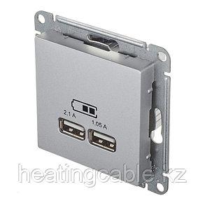 Atlas Design USB розетка А+А, 5В/2,1А,2*5В/1,05А, МЕХАНИЗМ,  скрытая установка алюминий, фото 2