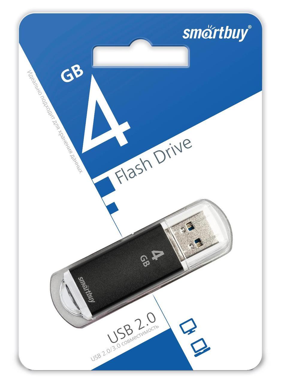 USB накопитель Smartbuy 4GB V-Cut Black