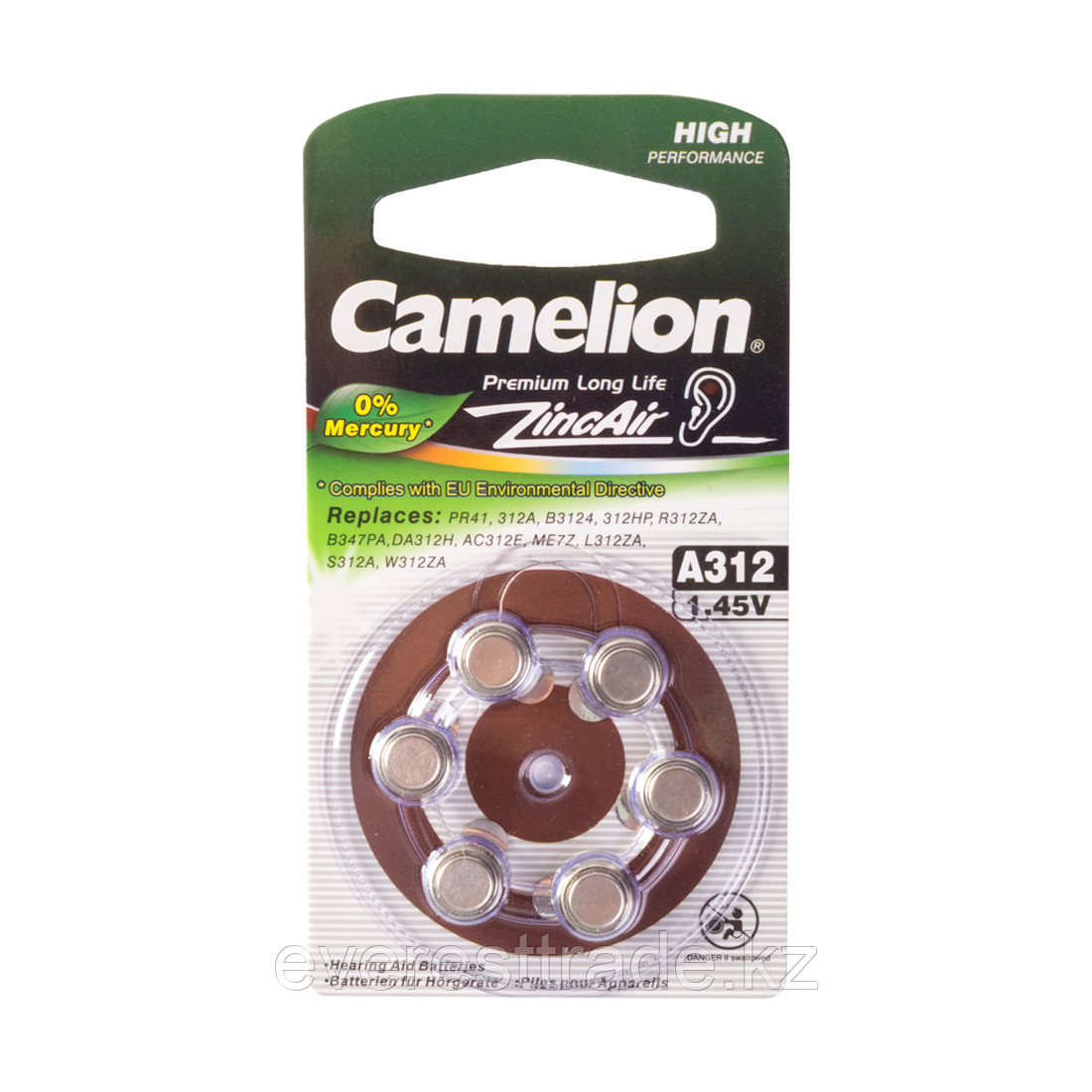 Camelion Батарейки CAMELION A312-BP6  Zinc Air, A312, 1.45V, 0% Ртути, 6 шт., Блистер