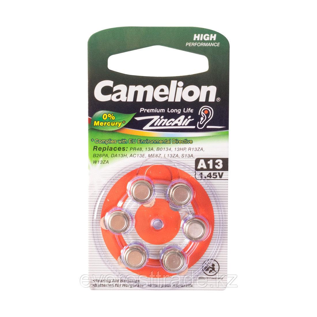 Camelion Батарейки,CAMELION, A13-BP6(0%Hg), Zinc Air, A13, 1.45V, 0% Ртути, 6 шт., Блистер
