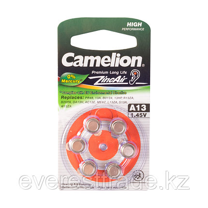 Camelion Батарейки,CAMELION, A13-BP6(0%Hg), Zinc Air, A13, 1.45V, 0% Ртути, 6 шт., Блистер, фото 2