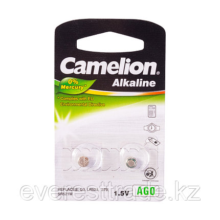 Camelion Батарейки, CAMELION, AG0-BP2, Alkaline, AG0, 1.5V, 0% Ртути, 2 шт., фото 2