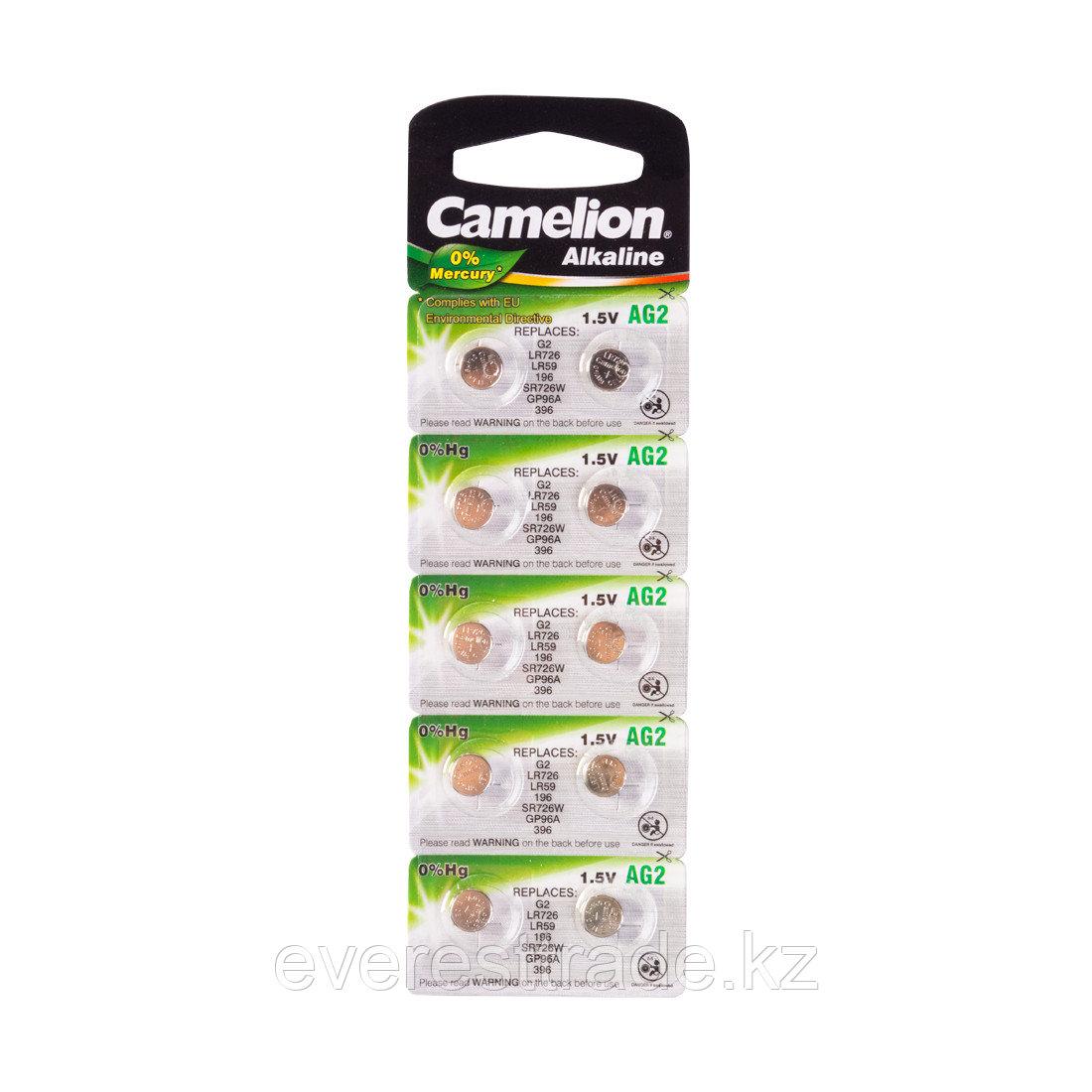 Camelion Батарейки,CAMELION, AG2-BP10, Alkaline, AG2, 1.5V, 0% Ртути, 10 шт. в блистере