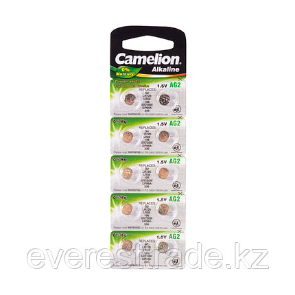 Camelion Батарейки,CAMELION, AG2-BP10, Alkaline, AG2, 1.5V, 0% Ртути, 10 шт. в блистере, фото 2