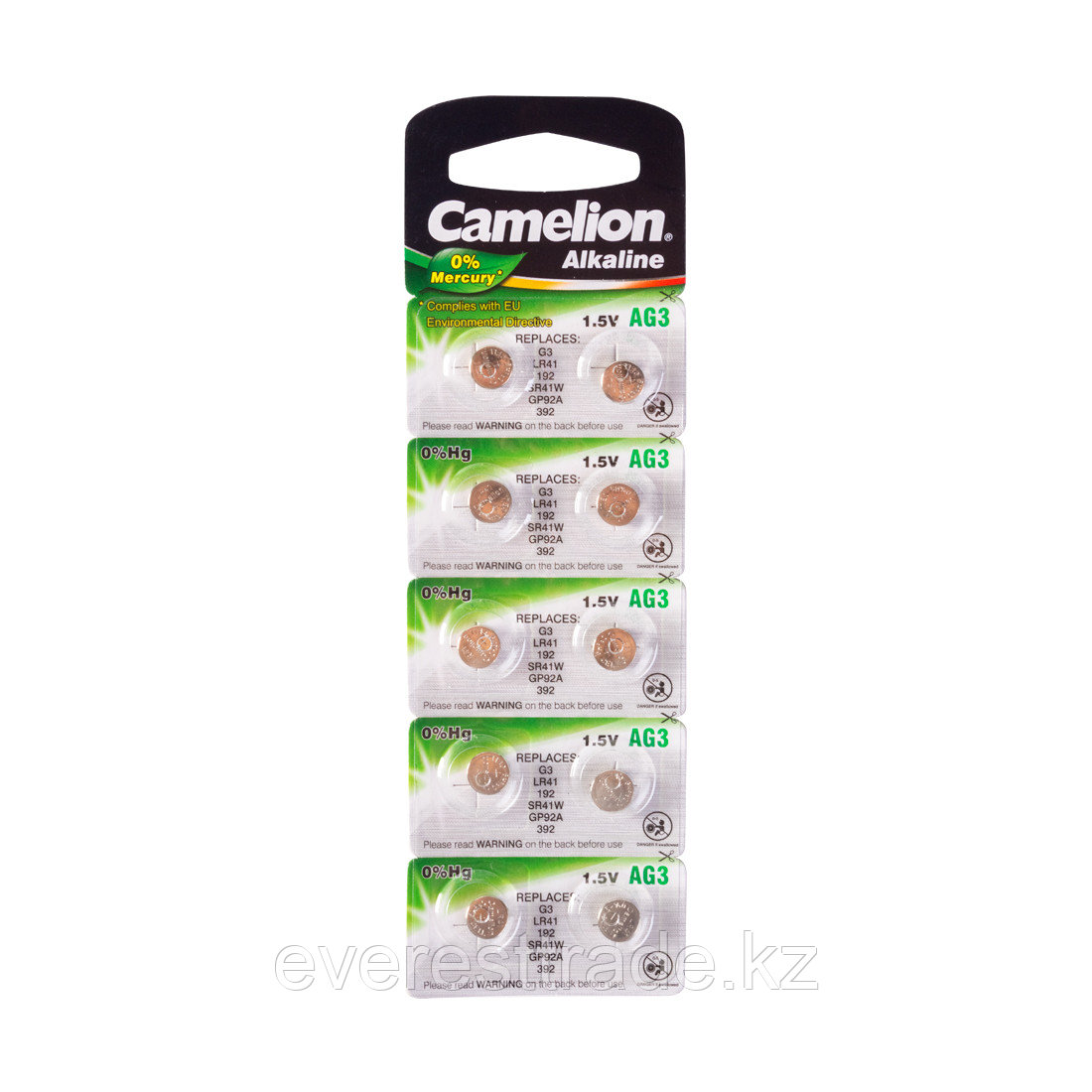 Camelion Батарейки, CAMELION, AG3-BP10, Alkaline, AG3, 1.5V, 0% Ртути, 10 шт. в блистере