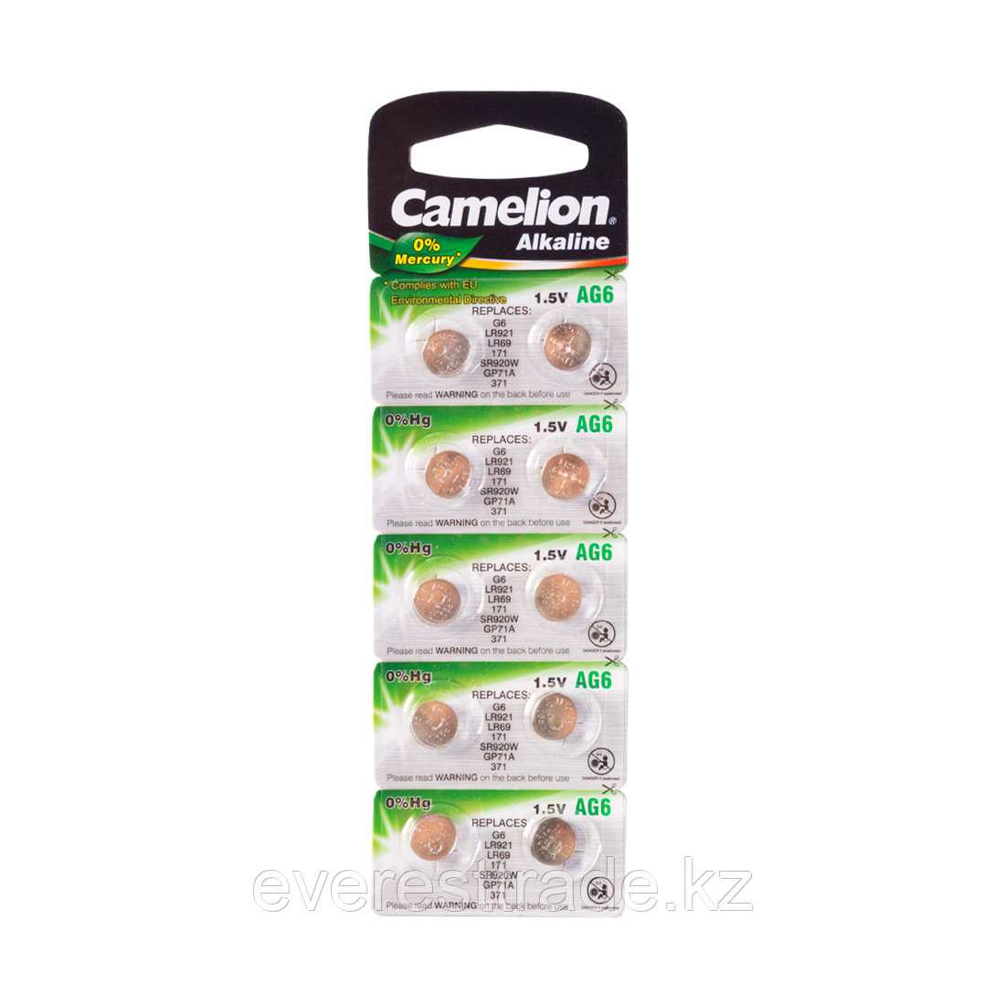 Camelion Батарейки, CAMELION, AG6-BP10, Alkaline, AG6, 1.5V, 0% Ртути, 10 шт. в блистере