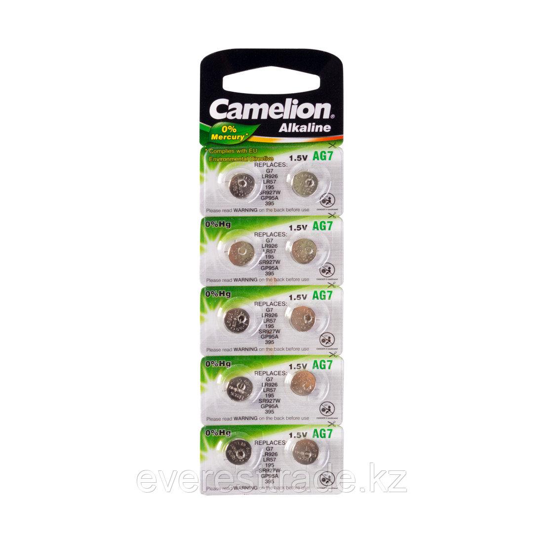 Camelion Батарейки,CAMELION, AG7-BP10, Alkaline, AG7, 1.5V, 0% Ртути, 10 шт. в блистере