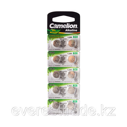 Camelion Батарейки,CAMELION, AG8-BP10, Alkaline, AG8, 1.5V, 0% Ртути, 10 шт. в блистере, фото 2