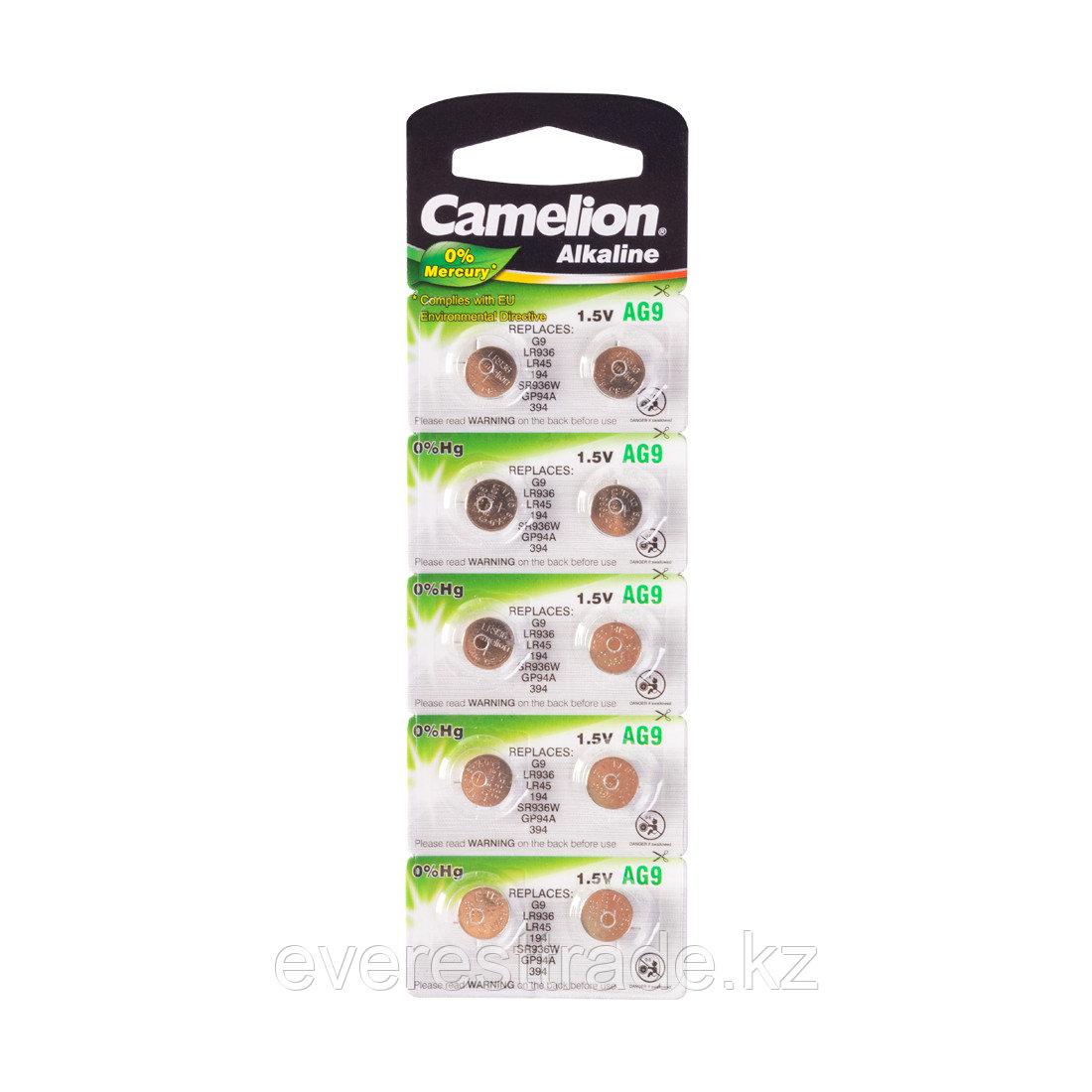 Camelion Батарейки,CAMELION, AG9-BP10, Alkaline, AG9, 1.5V, 0% Ртути, 10 шт. в блистере