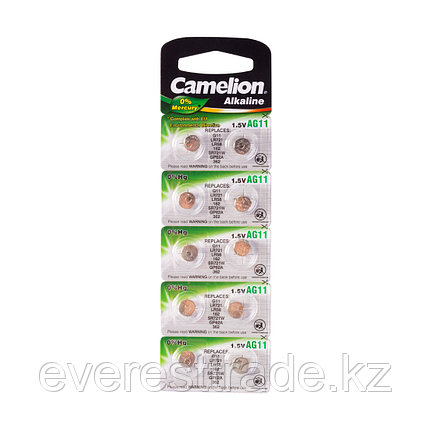 Camelion Батарейки,CAMELION, AG11-BP10, Alkaline, AG11, 1.5V, 0% Ртути, 10 шт. в блистере, фото 2