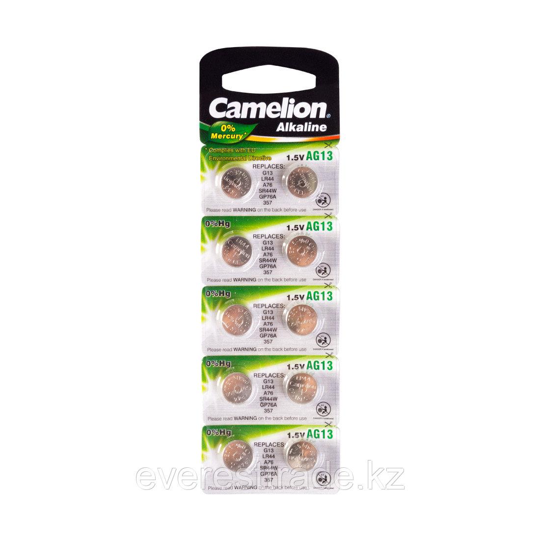 Camelion Батарейки,CAMELION, AG13-BP10, Alkaline, AG13, 1.5V, 0% Ртути, 10 шт., Блистер
