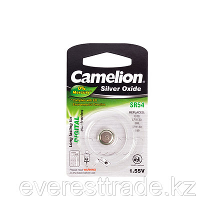 Camelion Батарейки,CAMELION, SR54-BP1 , Silver Oxide, 1.55V, 0% Ртути, 1 шт., Блистер, фото 2