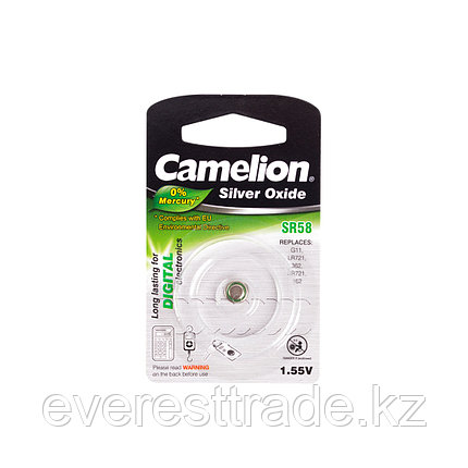 Camelion Батарейки, CAMELION, SR58-BP1 , Silver Oxide, 1.55V, 0% Ртути, 1 шт., Блистер, фото 2