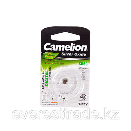 Camelion Батарейки, CAMELION, SR60-BP1, Silver Oxide, 1.55V, 0% Ртути, 1 шт., Блистер, фото 2
