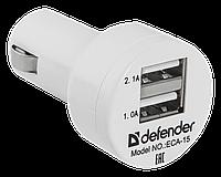Defender Адаптер питания Defender ECA-15 2 порта USB, 5V/2А белый Зарядное устройство автомобильное