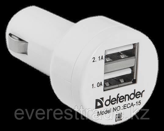Defender Адаптер питания Defender ECA-15 2 порта USB, 5V/2А белый Зарядное устройство автомобильное, фото 2