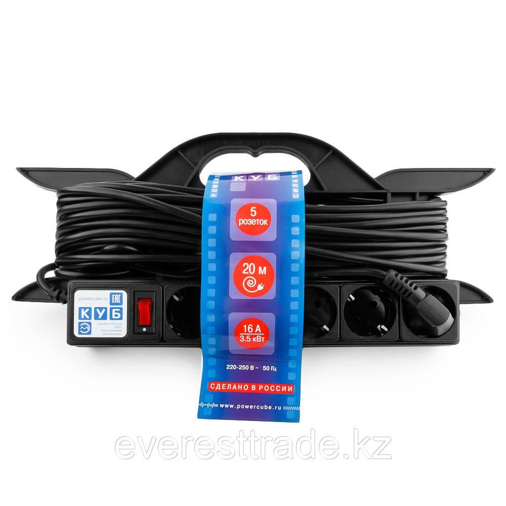 Power Cube Удлинитель Power Cube PC-LG5-R-20, 16 А/3,5 кВт, 20 м, 5 розеток с/з, на рамке, чёрный