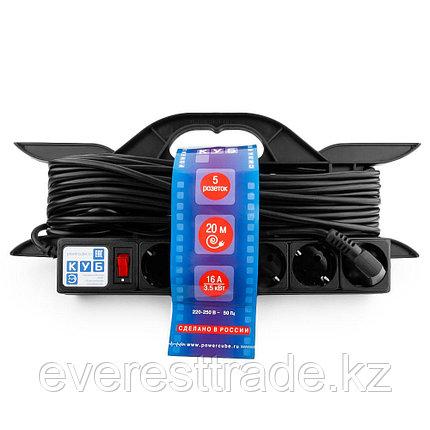 Power Cube Удлинитель Power Cube PC-LG5-R-20, 16 А/3,5 кВт, 20 м, 5 розеток с/з, на рамке, чёрный, фото 2