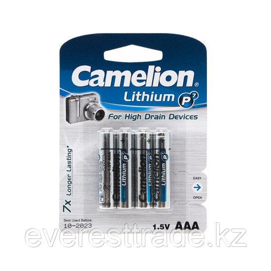 Camelion Батарейка, CAMELION, AAA FR03-BP4, Lithium P7,  1.5V, 1250 mAh, 4 шт. в блистере