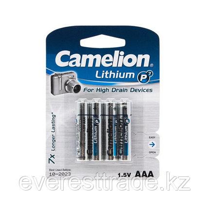 Camelion Батарейка, CAMELION, AAA FR03-BP4, Lithium P7,  1.5V, 1250 mAh, 4 шт. в блистере, фото 2