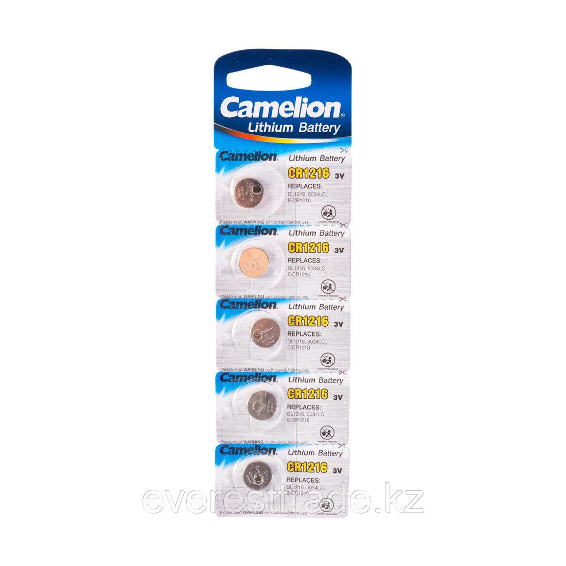 Camelion Батарейка, CAMELION, CR1216-BP5 Lithium Battery, CR1216 3V, 220 mAh, 5 шт. в блистере