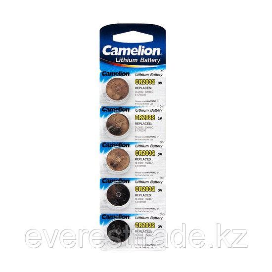 Camelion Батарейка, CAMELION, CR2032-BP5, Lithium Battery, CR2032, 3V, 220 mAh, 5 шт. в блистере