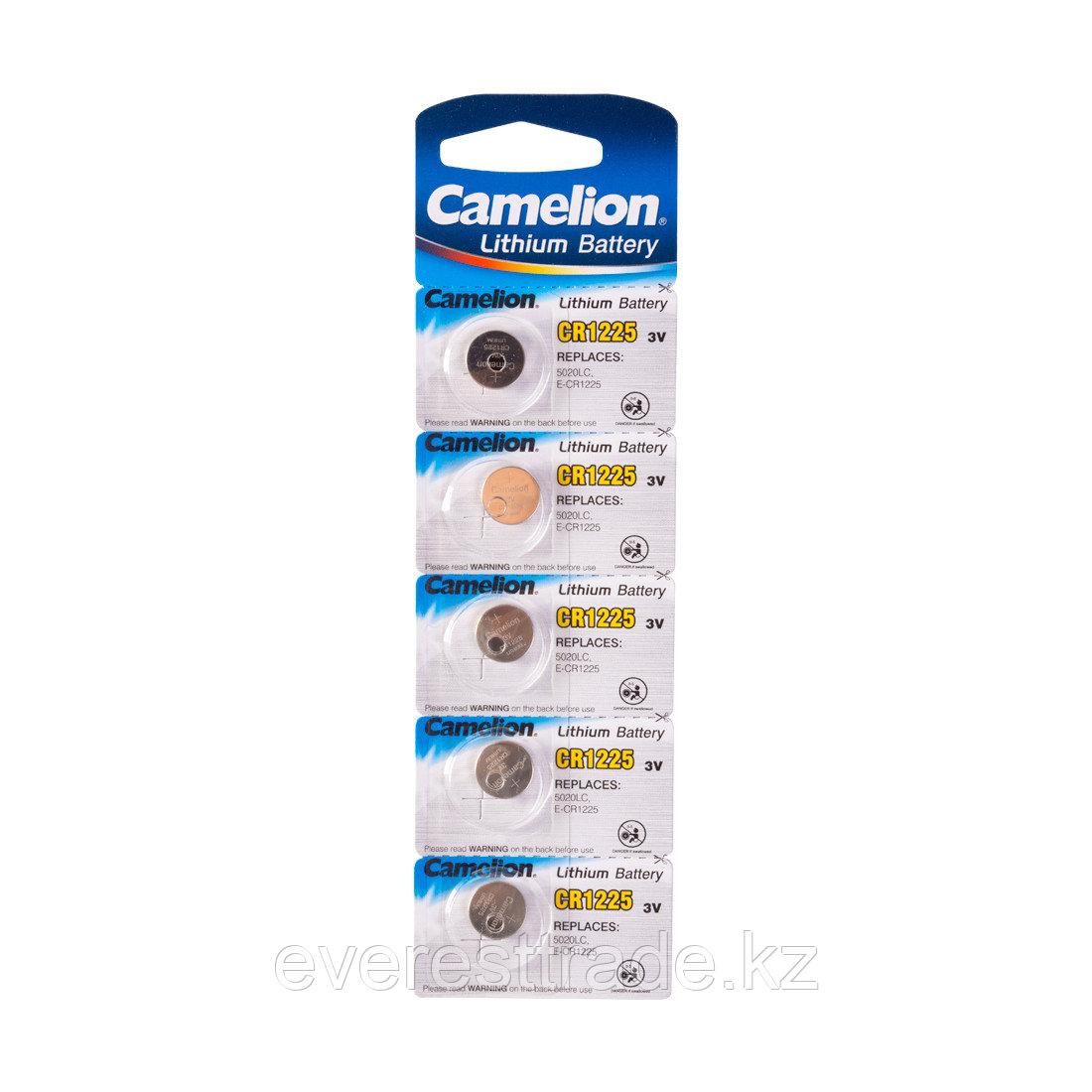 Camelion Батарейка, CAMELION, CR1225-BP5 Lithium Battery, CR1225 3V, 220 mAh, 5 шт. в блистере
