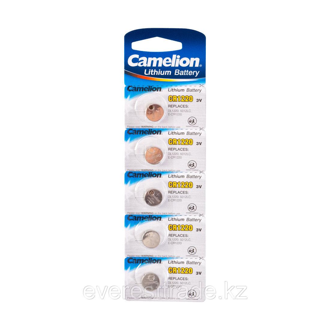 Camelion Батарейка, CAMELION, CR1220-BP5 Lithium Battery, CR1220 3V, 220 mAh, 5 шт. в блистере