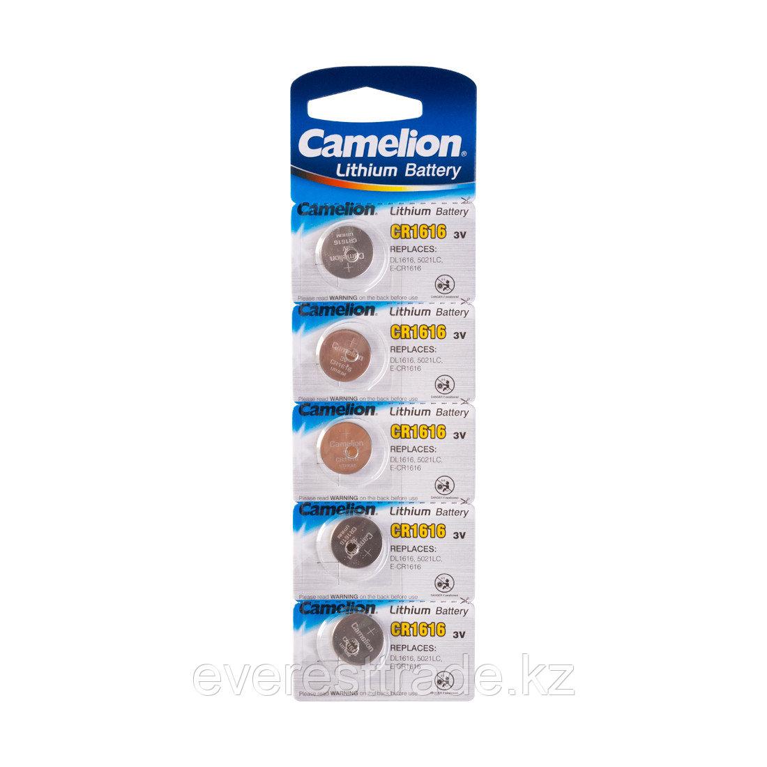 Camelion Батарейка, CAMELION, CR1616-BP5, Lithium Battery, CR1616, 3V, 220 mAh, 5 шт в блистере