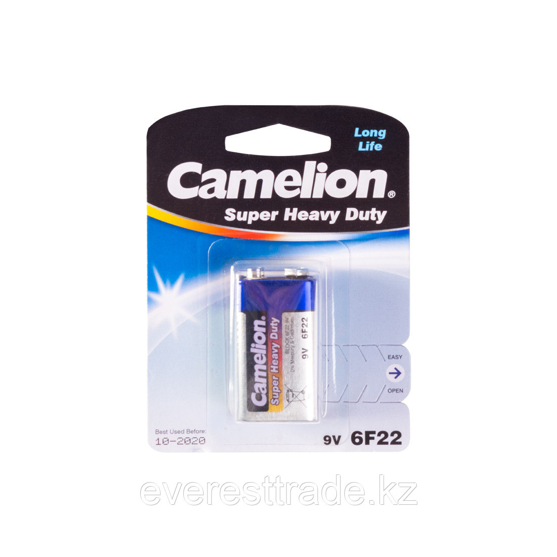 Camelion Батарейка, CAMELION, 6F22-BP1B, Солевая, 6F22(крона), 9V, 680 mAh, 1 шт., Блистер