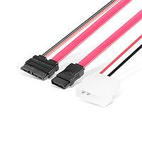 No name Кабель интерфейсный SATA для Slim DVD 7+ 15pin +2 pin кабель питания, 50 см, Красный