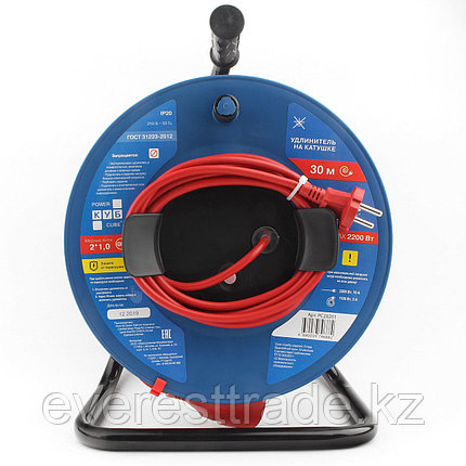 Power Cube Удлинитель Power Cube PC-B1-K-30, 10 А/2,2 кВт, 30 м, 1 розетка б/з, красно-синий, катушка, фото 2